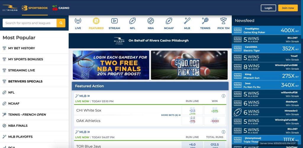 BetRivers-Sportsbook Michigan website